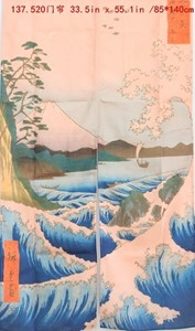 "Picture of ML29 ""Japan's Ocean's Waves Near Fuji Mountain"" Decorative Curtain (520)"