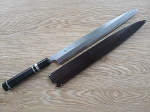 Picture of Akazawa Togashi Ao-ichi-Ko Hongasumi Yanagi 240mm Free upgrade Gokujyou Ebony Saya Cover  ( Semi handmade )(Market price $138)+Ebony Handle With Three Silver Ring(Market price $114)