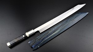 Picture of Akazawa Genkai's Fuji Mountain (Snow) Full Moon Shiro-Ko Honyaki Kiritsuke-Yanagi 330mm ( Contact to buy )